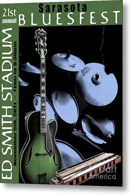 Metal Print featuring the digital art Sarasota Bluesfest-green by Megan Dirsa-DuBois