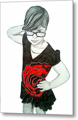 Metal Print featuring the drawing Sassy Izzy by Justin Moore