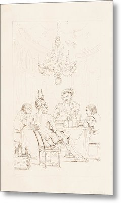 Satan And Three Men At A Table Metal Print by Auguste Hervieu