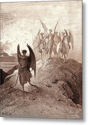 Satan Vanquished, By Gustave Dore. Dore, 1832 - 1883 Metal Print by Litz Collection
