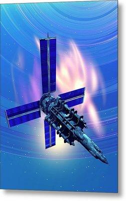 Satellite In Space Metal Print by Victor Habbick Visions