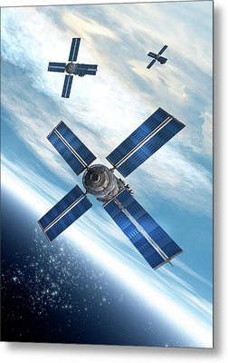Satellites Orbiting The Earth Metal Print by Victor Habbick Visions