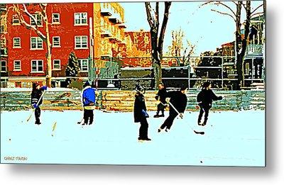 Saturday Afternoon Hockey Practice At The Neighborhood Rink Montreal Winter City Scene Metal Print by Carole Spandau