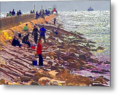 Metal Print featuring the photograph Saturday Morning On The Surfside Jetty by Gary Holmes