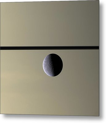 Saturn Rhea Contemporary Abstract Metal Print by Adam Romanowicz
