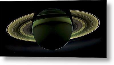 Saturns Glowing Rings Metal Print