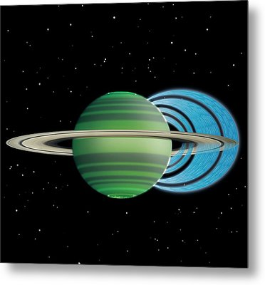 Saturn's Ring 'rain' Metal Print by Nasa/jpl-caltech/space Science Institute/university Of Leicester