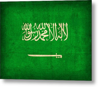 Saudi Arabia Flag Vintage Distressed Finish Metal Print by Design Turnpike