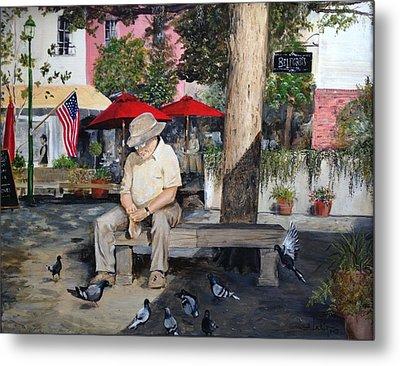Metal Print featuring the painting Savannah City Market by Alan Lakin