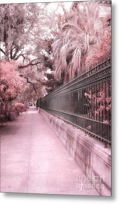 Savannah Dreamy Pink Rod Iron Gate Fence Architecture Street With Palm Trees  Metal Print by Kathy Fornal