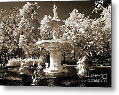 Savannah Georgia Fountain - Forsyth Fountain - Infrared Sepia Landscape Metal Print