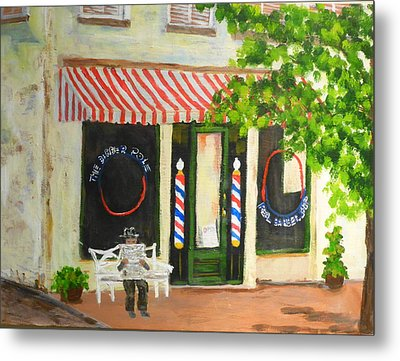 Savannah Barber Shop Metal Print by Diane Arlitt