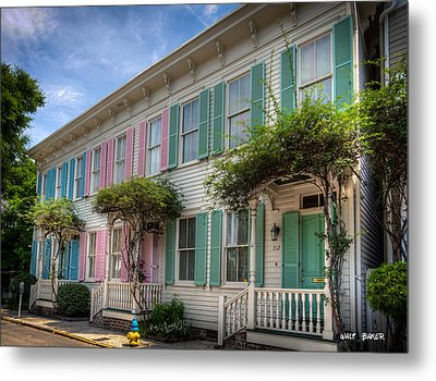 Savannah's Rainbow Row Metal Print