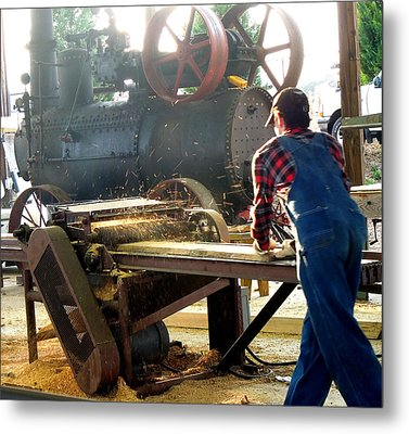 Metal Print featuring the photograph Sawmill Planer In Action by Pete Trenholm