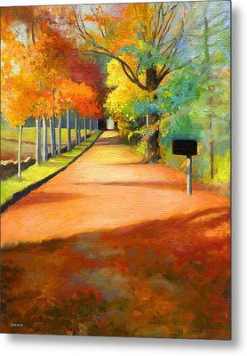 Sawmill Road Autumn Vermont Landscape Metal Print by Catherine Twomey