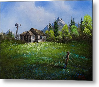 Sawtooth Mountain Homestead Metal Print by C Steele