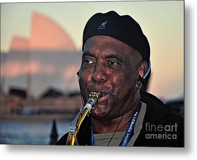 Sax In The City Metal Print by Kaye Menner