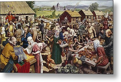 Saxon Village Fair Colour Litho Metal Print