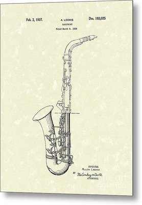 Saxophone 1937 Patent Art Metal Print by Prior Art Design