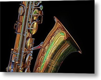 Metal Print featuring the photograph Saxophone by Dave Mills