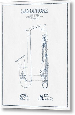 Saxophone Patent Drawing From 1899 - Blue Ink Metal Print by Aged Pixel