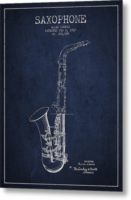 Saxophone Patent Drawing From 1937 - Blue Metal Print by Aged Pixel