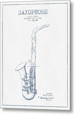 Saxophone Patent Drawing From 1937 - Blue Ink Metal Print