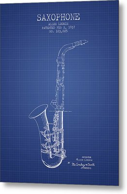 Saxophone Patent From 1937 - Blueprint Metal Print