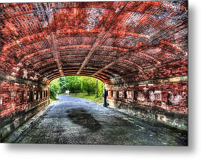 Saxophone Player At Driprock Arch In Central Park Metal Print by Randy Aveille