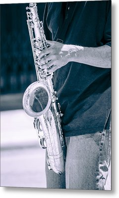 Saxophone Player On Street Metal Print by Carolyn Marshall