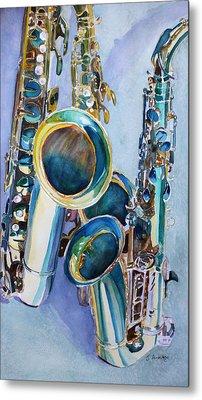 Saxy Trio Metal Print by Jenny Armitage