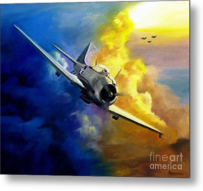 Metal Print featuring the painting Sbd Dauntless by Stephen Roberson