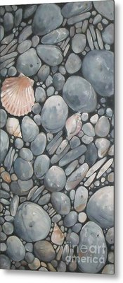 Scallop Shell And Black Stones Metal Print by Mary Hubley