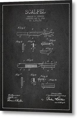 Scalpel Patent From 1916 - Dark Metal Print