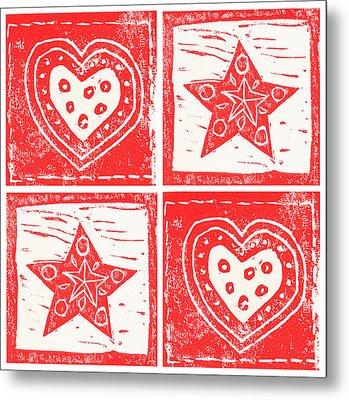 Scandinavian Hearts And Stars Metal Print