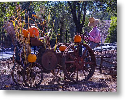 Scarecrow Sitting On Tractor Metal Print