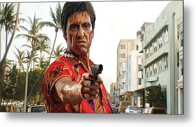 Metal Print featuring the painting Scarface Artwork 2 by Sheraz A