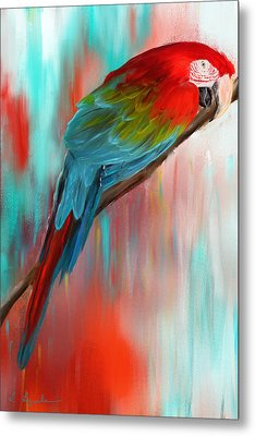 Scarlet- Red And Turquoise Art Metal Print by Lourry Legarde