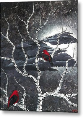 Metal Print featuring the painting Scarlet Night by Oddball Art Co by Lizzy Love