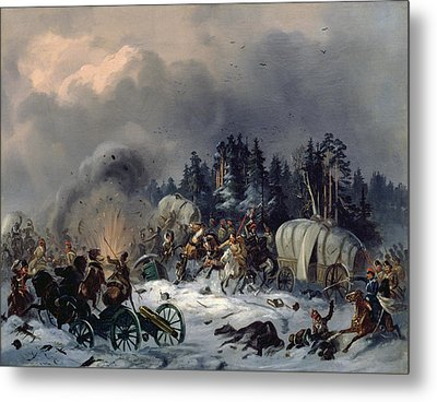 Scene From The Russian-french War In 1812 Oil On Canvas Metal Print by Bogdan Willewalde