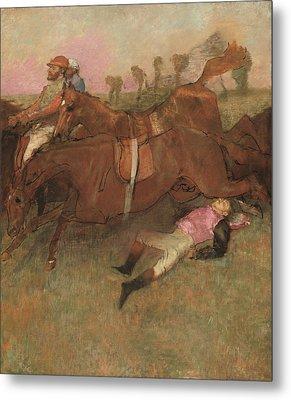 Scene From The Steeplechase The Fallen Jockey Metal Print by Edgar Degas