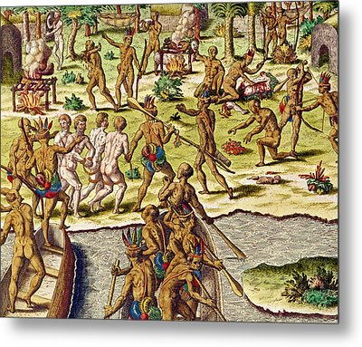 Scene Of Cannibalism Metal Print by Theodore de Bry