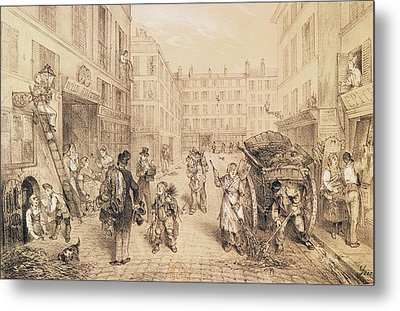 Scenes And Morals Of Paris, From Paris Qui Seveille, Printed By Lemercier, Paris Litho Metal Print by French School