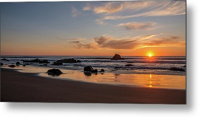 Scenic View Of Beach At Sunset, San Metal Print