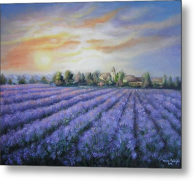 Metal Print featuring the painting Scented Field by Vesna Martinjak