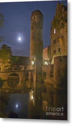 Schloss Sommersdorf By Moonlight Metal Print