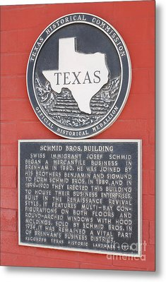 Schmid Brothers Building Historical Marker Metal Print by Connie Fox