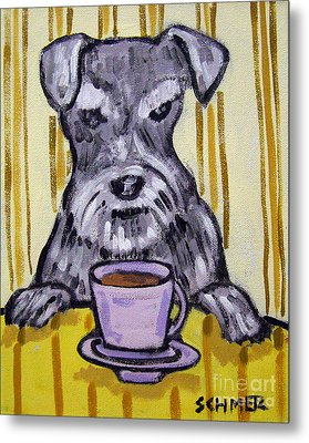 Schnauzer At The Coffee Shop Metal Print by Jay  Schmetz