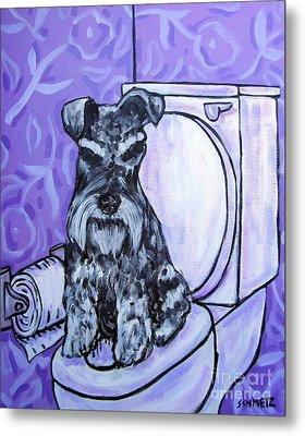 Schnauzer In The Bathroom Metal Print by Jay  Schmetz
