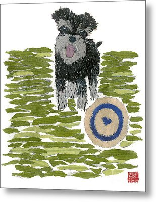 Schnauzer Art Hand-torn Newspaper Collage Art Dog Portrait Metal Print by Keiko Suzuki Bless Hue